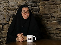 Sister Vassa offering an interview in the gold mine at the back of the Cozmic Cafe